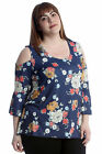 New Womens Plus Size Top Ladies Cold Shoulder Floral Print Bell Sleeves Blouse