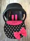 STARS BLACK WHITE car seat apron harness covers bow cerise pink personalised new