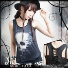 Punk visual ghost railway surreal painting cut-out racerback tank top【J1M0265】