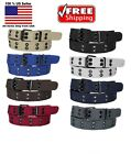Внешний вид - KIDS CHILDREN BOYS GIRLS 2 HOLES ROW GROMMETS Stitched Canvas Fabric Web Belt