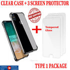 IPHONE X 7 8 7 PLUS 8 PLUS CASE CLEAR WITH BUMPER PROTECTION SCREEN PROTECTOR <br/> CLEAR CASE &amp; 3 SCREEN PROTECTOR  TEMPERED GLASS