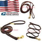 Genuine Leather Large Pet Dog Leash Leads Handcraft Heavy Duty Brass Clasp USA