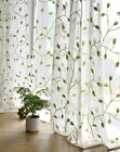 Custom French Country Green Leaf Embroidery White Net Voile Sheer Curtain Panel