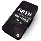 Faith Can Move Mountains  - Faux Leather Flip Phone Case #2 - Stars Sky Night