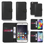 Black PU leather wallet case cover for various mobile phones
