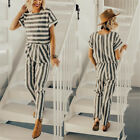 UK Womens Striped Pocket Slit Back Holiday Playsuit Trousers Long Beach Jumpsuit