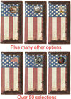 Custom Long Leather Wallet. Distressed U.S. Flag Background