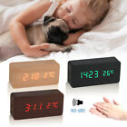 Digital LED Alarm Wooden Desk Clock Voice Control Timer Thermometer Gift USB