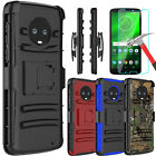 For Motorola Moto G6 Plus Shockproof Case With Kickstand Clip + Screen Protector