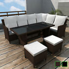 vidaXL Outdoor Dining Lounge Set 16 PCS Rattan Wicker Patio Garden Sofa 2 Colors