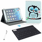 "US Universal For 8"" Tablet  Cut Sleep Owl Leather Cover Case Bluetooth Keyboard"