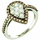 0.99 ct (ctw) 10 ct Gold Round Brown & Diamond Ladies Right Hand Fashion Ring