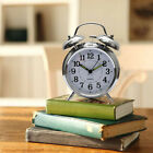 4` Silent Quartz Analog Twin Bell Alarm Clock Nightlight and Loud Alarm