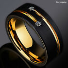 8mm Black Brushed Tungsten Ring Gold Grooved Line Diamond ATOP Men Wedding Band
