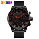 SKMEI Mens Leather Waterproof Sport Watches Luxury Date Quartz Chronograph Watch <br/> black blue red yellow / uk