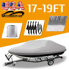 14-22ft Heavy Duty Trailerable Waterproof Boat Cover Fishing Ski Bass Beam Grey image