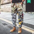 Mens Camouflage Loose Big Pockets Ankle Banded Fashion Chic Pants Plus Size B156