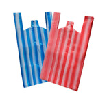 VEST STRIPE PLASTIC CARRIER BAGS BLUE AND RED SHOPPING SUPERMARKETS (ALL SIZES)