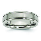 Titanium Grooved Edge 6mm Brushed and Polished Band