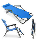 2PCS Folding Beach Chair Bed Chaise Lounge Patio Pool Recliner Portable 2 Colors