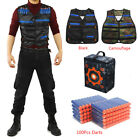 100x Bullets Darts + Vest Jacket + Storage Target Bag For Nerf N-Strike Game Toy