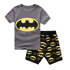 Boys Kids Short Sleeve Summer T Shirt Shorts Pyjamas PJs Sleepwear Outfits 3-8Y