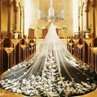 1T Cathedral Length Ivory/White Wedding Bridal Veils Top Lace Simple With Comb