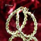 18k Gf 18ct Yellow Gold Filled Thick Twisted Hoop Earrings 20mm 25mm Round Hoops