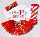 5Pcs Newborn Baby Girl Christmas Romper+Dot Dress+Leg Warmers Set Outfit Clothes