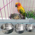 Stainless Steel Bird Parrot Feeder Bowl Antirust Pet Food Water Container Plate