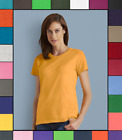 Внешний вид - Gildan Womens Plain T Shirt Solid Cotton Short Sleeve Blank Tee Top Shirts G500L