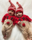 US Newborn Baby Boy Girl Christmas Reindeer Romper Jumpsuit Clothes Outfits +Hat