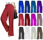 New Women Palazzo Plain Ladies Flared Wide Leg Pants leggings Baggy Trousers