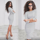 US Fashion Women Casual Long Sleeve Bodycon Cocktail Evening Party Mini Dress