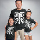 Halloween Skeleton Fancy Dress T Shirt Mens Womens Childrens Black Party Trick