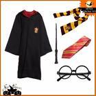 Harry Potter Gryffindor Robe Cloak Scarf Tie Glass Wand Adult Kid Costume Cape