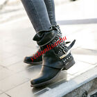 Real Wool Leather Gladiator Metal Rivet Punk Side Zip Buckle Block Ankle boots