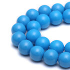 Opaque Cool Turquoise Color Tiny Satin Luster Glass Pearls Round Loose Beads