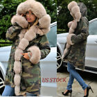 Roiii Women Hood Parka Jacket Coat Camouflage Faux Fur Winter Overcoat Plus Size