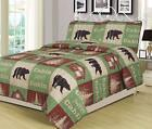 Twin, Full/Queen, or King Cabin Bear Quilt Set Country Rustic Lodge Bedspread image