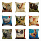 Rooster Throw Pillow Cover Animal Realistic Chicken Cotton Linen Cushion Cover image