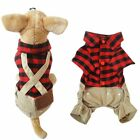 Pet Puppy Plaid T-shirt Romper Overall Bib Pants Dog Jumpsuit Outfits Clothes US
