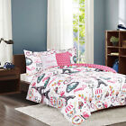 Twin Full/Queen Paris Comforter Bedding Set Pink White Eiffel Tower French Café