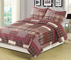 Full/Queen or King Quilt Red Plaid Patchwork Bedspread Bedding Set