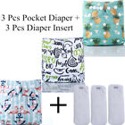 6Pcs Set Waterproof Reusable Printed PUL Baby One Size Cloth Diaper Nappy Cover