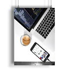 White Table With Laptop, Smartphone And Tasty Coffee A0-A4 Poster a1873h