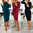 Uk Office Ladies Work Dress Autumn Womens Waist Tie Slim Panel Career Dress 6-16