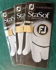 THREE (3) New 2018 MENS FootJoy STASOF Leather Golf Gloves, PICK A SIZE, WHITE