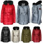 Ladies Womens Quilted Hooded Faux Fur Padded Jacket Coat Top