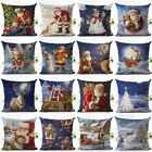"18"" Merry Christmas Linen Santa Claus Pillow Cases Sofa Cushion Cover Home Decor image"